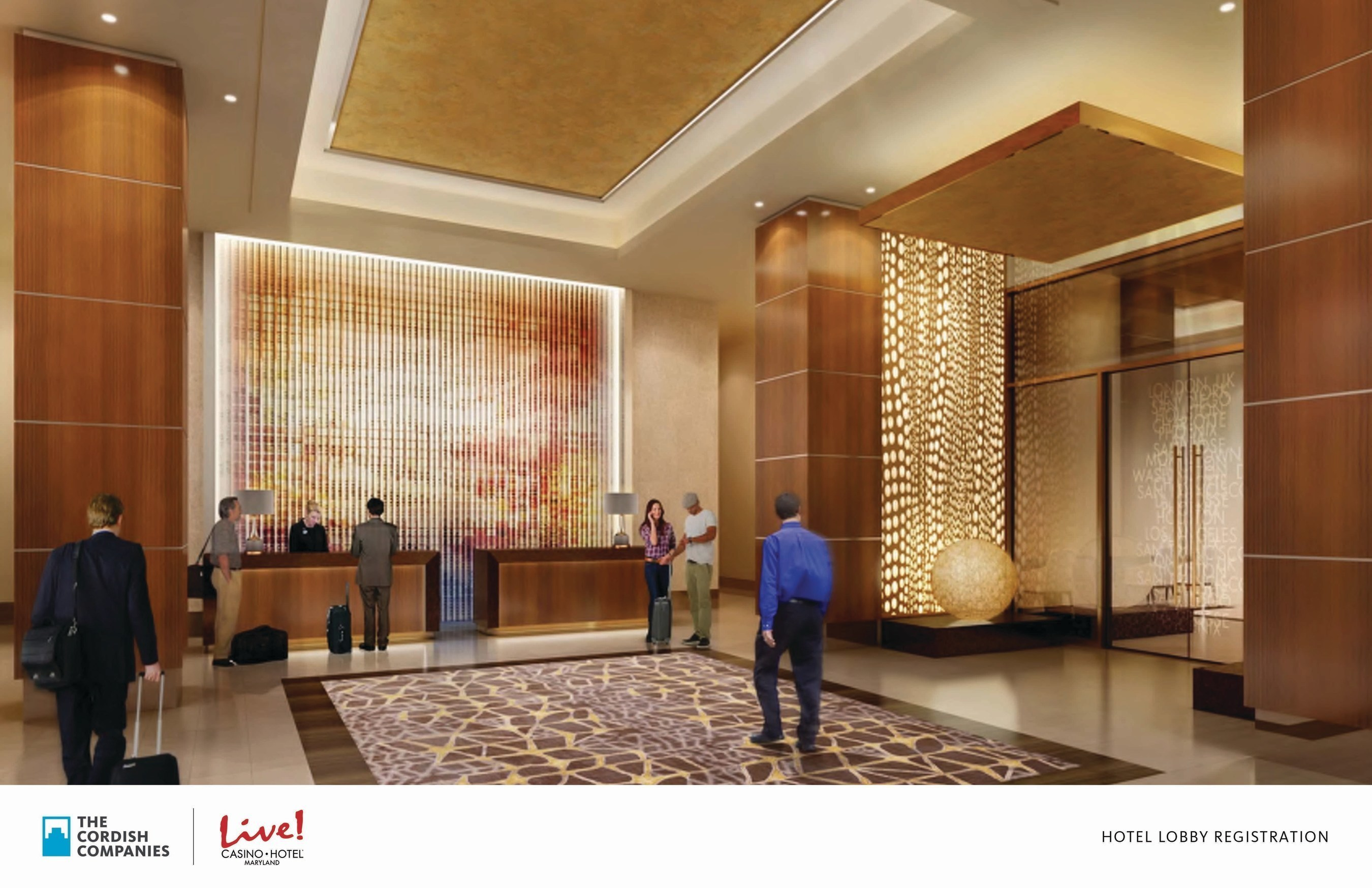 An artists' rendering depicts the Hotel Lobby of the new $200 million flagship Live! Hotel. The Cordish Companies today broke ground on the development, which will be located at Maryland Live! Casino, in Hanover, MD. The 350,000- square- foot property features a 17-story hotel tower, making it the tallest building in Anne Arundel County, with 310 guest rooms, an event center, meeting spaces, new dining options, and a day spa/salon. It is the first hotel in the country to carry the Live! brand.
