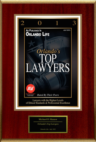 "Michael D. Maurer Selected For ""Orlando's Top Lawyers"".  (PRNewsFoto/American Registry)"