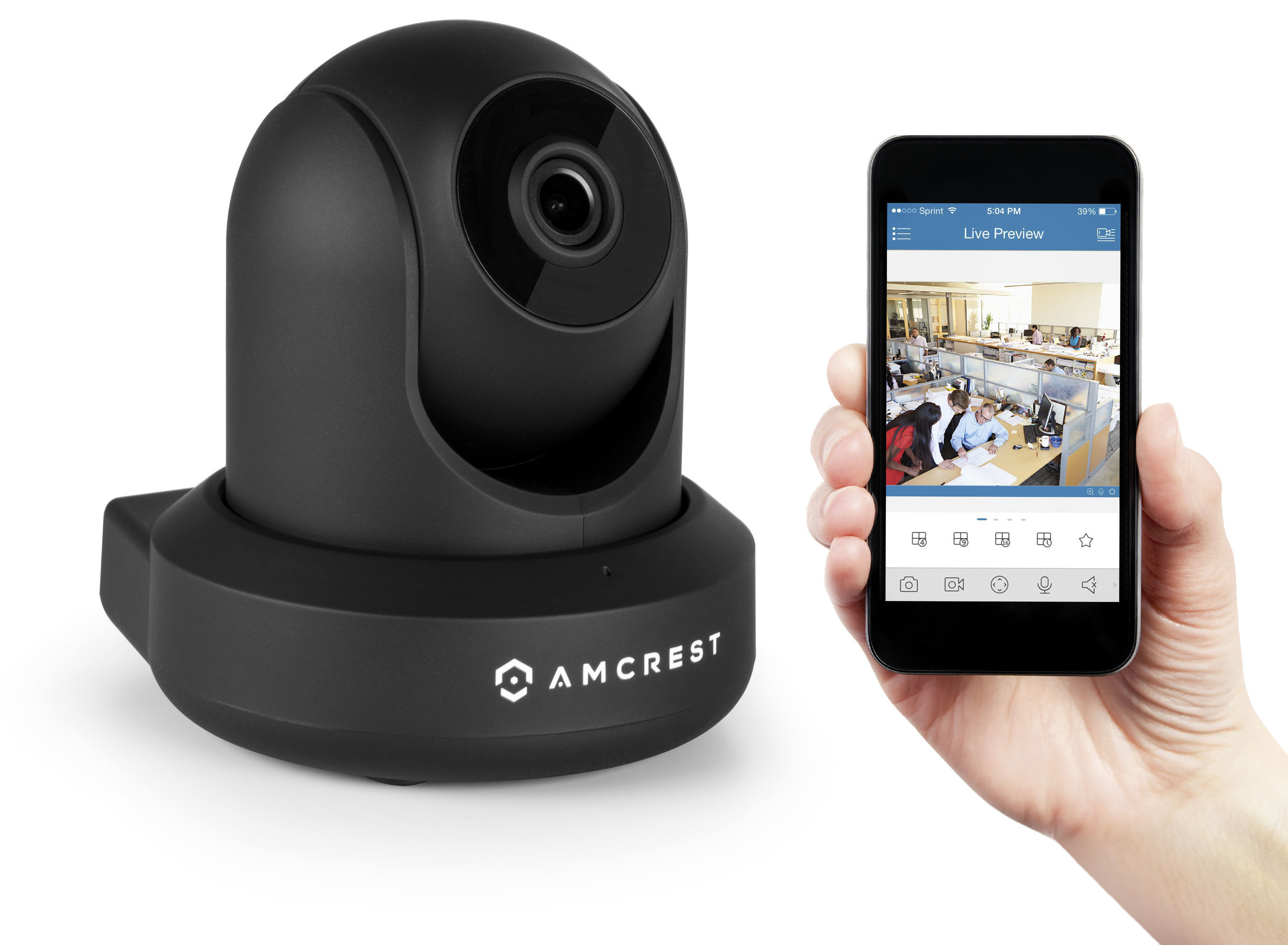 Amcrest 1080P WiFi Video Security IP Camera (IP2M-841W) with Pan/Tilt, Two-Way Talk, Plug & Play Setup, Optional Cloud Recording, Full HD 1080P (1920TVL) @30fps, Super Wide 90� FOV, and More