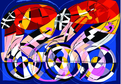 """CYCLISTS"", Silkscreen, by Ugo Nespolo.  (PRNewsFoto/Italy-China Cooperation Culture Development Company)"
