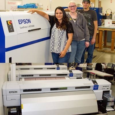 From left to right, Violeta Avalos, Jennifer Imes, and Nathan Champlin from SnugZ USA; Bottom Photo: Epson F-Series dye-sublimation printers help SnugZ USA deliver high quality prints and consistent colors.