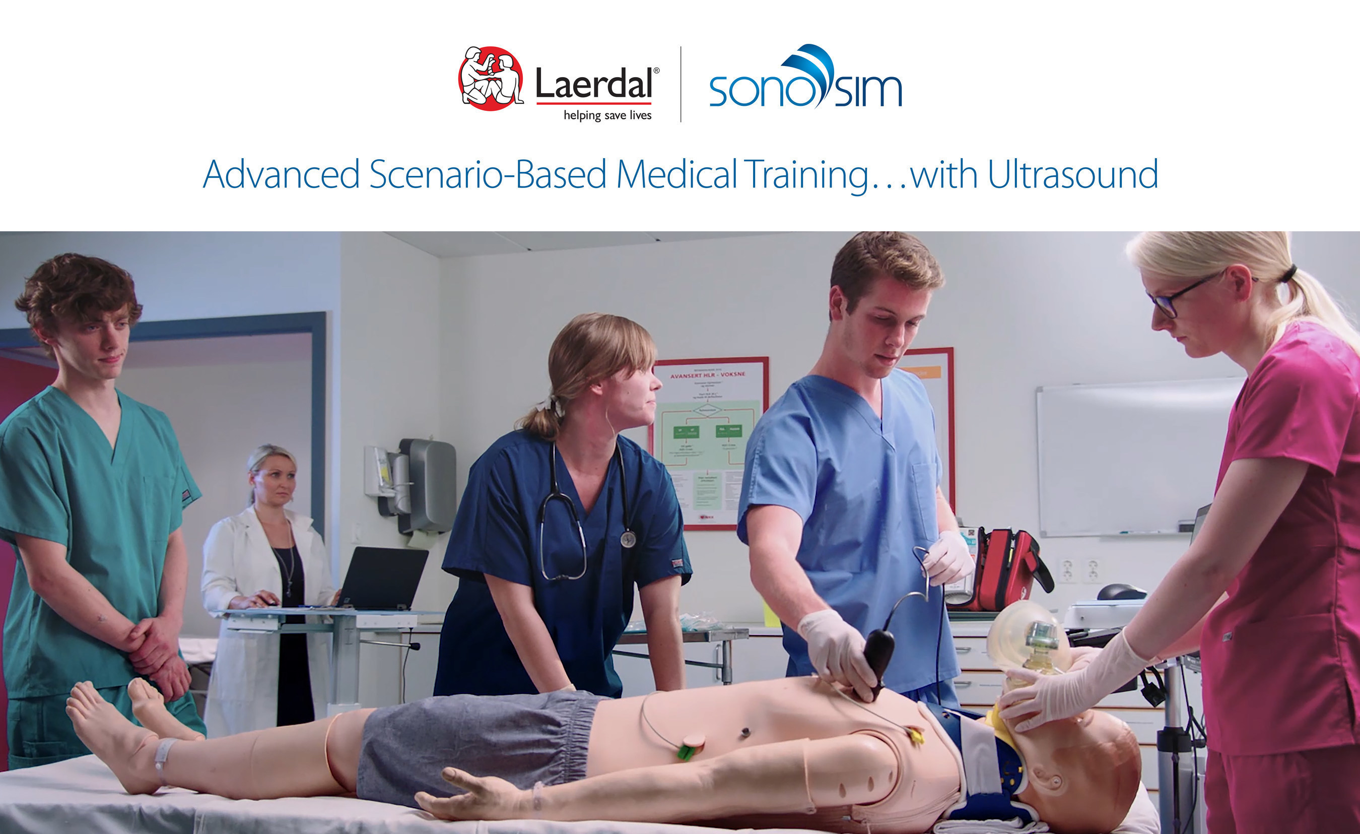 The Laerdal-SonoSim Ultrasound Solution for SimMan3G and SimMom brings ultrasound training to life with computerized manikins that can breathe, blink, and bleed just like humans, bridging classroom learning and real-life clinical experience without putting actual patients at risk. The integration of the SonoSim(R) Ultrasound Training Solution into Laerdal Medical's patient simulator platform provides an easy-to-use and highly realistic ultrasound training and proficiency assessment tool.