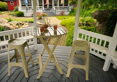 Adams' counter and bar-height barstools and matching bistro tables are perfect for decks, patios, sunrooms, kitchens, game rooms or any small space.  (PRNewsFoto/Adams Manufacturing)
