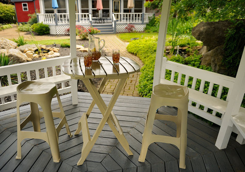 Adams' counter and bar-height barstools and matching bistro tables are perfect for decks, patios, sunrooms,  ...