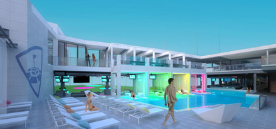 Topgolf Las Vegas swimming pool on third level rendering
