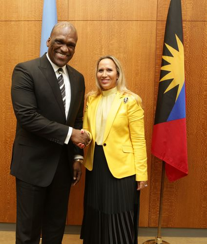 John W. Ashe, President of the United Nations General Assembly meets with Karine Roy-Camille, Martinique ...