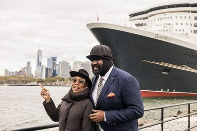"""Dee Dee Bridgewater and Gregory Porter about to board Cunard's flagship Queen Mary 2 in New York City, to perform on the Blue Note """"Jazz at Sea"""" Transatlantic Crossing just before the liner set sail for Southampton, England, October 25, 2016."""
