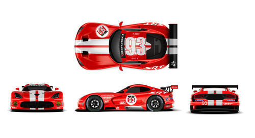 SRT (Street and Racing Technology) Motorsports is honoring the Dodge Viper's racing heritage by molting its 'skin' and returning to the Viper's classic red and white livery, beginning at the upcoming Sahlen's Six Hours of the Glen race weekend, June 27-29.  The SRT Motorsports Viper entries – the No. 91 and No. 93 Dodge Viper SRT GTS-Rs – will compete in 'Viper Red' and 'Race White' for the duration of the 2014 IMSA TUDOR United SportsCar Championship season. (PRNewsFoto/Chrysler Group LLC)