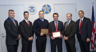 (From Left) Matt LaVigna, Assistant Special Agent in Charge, Pittsburgh Field Office, U.S. Secret Service; Eric Zahren, Special Agent in Charge Pittsburgh Field Office, USSS; Rich Nolan, Technical Director, Digital Investigations and Intelligence Directorate (DIID), CERT, Software Engineering Institute; Matthew Geiger, senior member of the technical staff, DIID, CERT; Tom Dover, Assistant to the Special Agent in Charge, Criminal Investigations Division, USSS; and Ryan Moore, Special Agent, USSS, and Resident Affiliate, CERT.  (PRNewsFoto/Carnegie Mellon Software Engineering Institute)