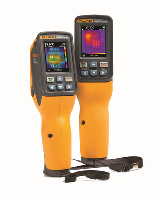 The Fluke(R) VT02 and VT04 Visual IR Thermometers speed up inspections of HVAC/R and electrical systems to identify potential issues like uneven distribution in AC condensers, overheated motors, overloaded circuit breakers, or faulty air dampers.  (PRNewsFoto/Fluke Corporation)