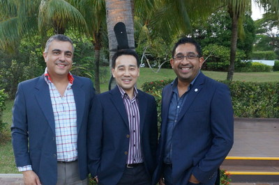 The three founders of Arcadier, Paul Cascun, Kenneth Low and Dinuke Ranasinghe (from left to the right) flash smiles as they pose for a interview feature article.