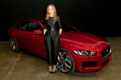 Stella McCartney with the new Jaguar XE at its reveal in London, Monday 8th September 2014