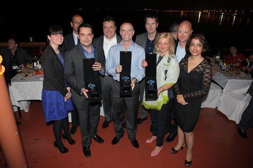 Loyalty Award winners (l-r) Phil Seward of Virgin America, Phil Gunter of Virgin Australia and Baltic Miles' Annika Davidsone together with the judges at Loyalty 2013 (PRNewsFoto/Airline Business; Global Flight)