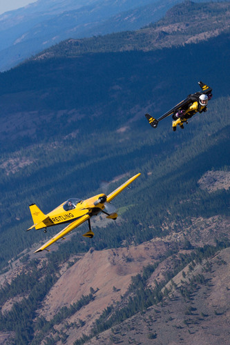"Yves ""Jetman"" Rossy flies over Reno with a CAP 232 plane during a test flight prior to his appearance ..."