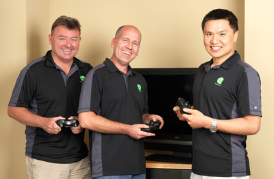 Green Throttle Founders Karl Townsend, Matt Crowley and Charles Huang are launching a controller and mobile games designed to bring the fun of multiplayer gaming and the convenience of mobile to big-screen TVs.  (PRNewsFoto/Green Throttle Games, Adam Crowley)