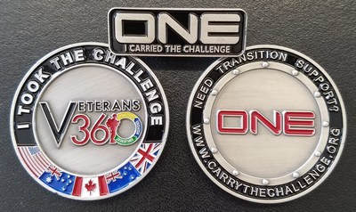 Accept the Challenge - share a coin with a young veteran and wear your pin with pride. ONE positive act for ONE veteran could be all it takes to save a life. We owe it to them.