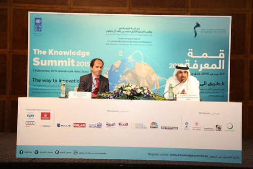 His Excellency Jamal Bin Huwaireb, managing director of MBRF and Yakub Beris, from UNDP during the press ...
