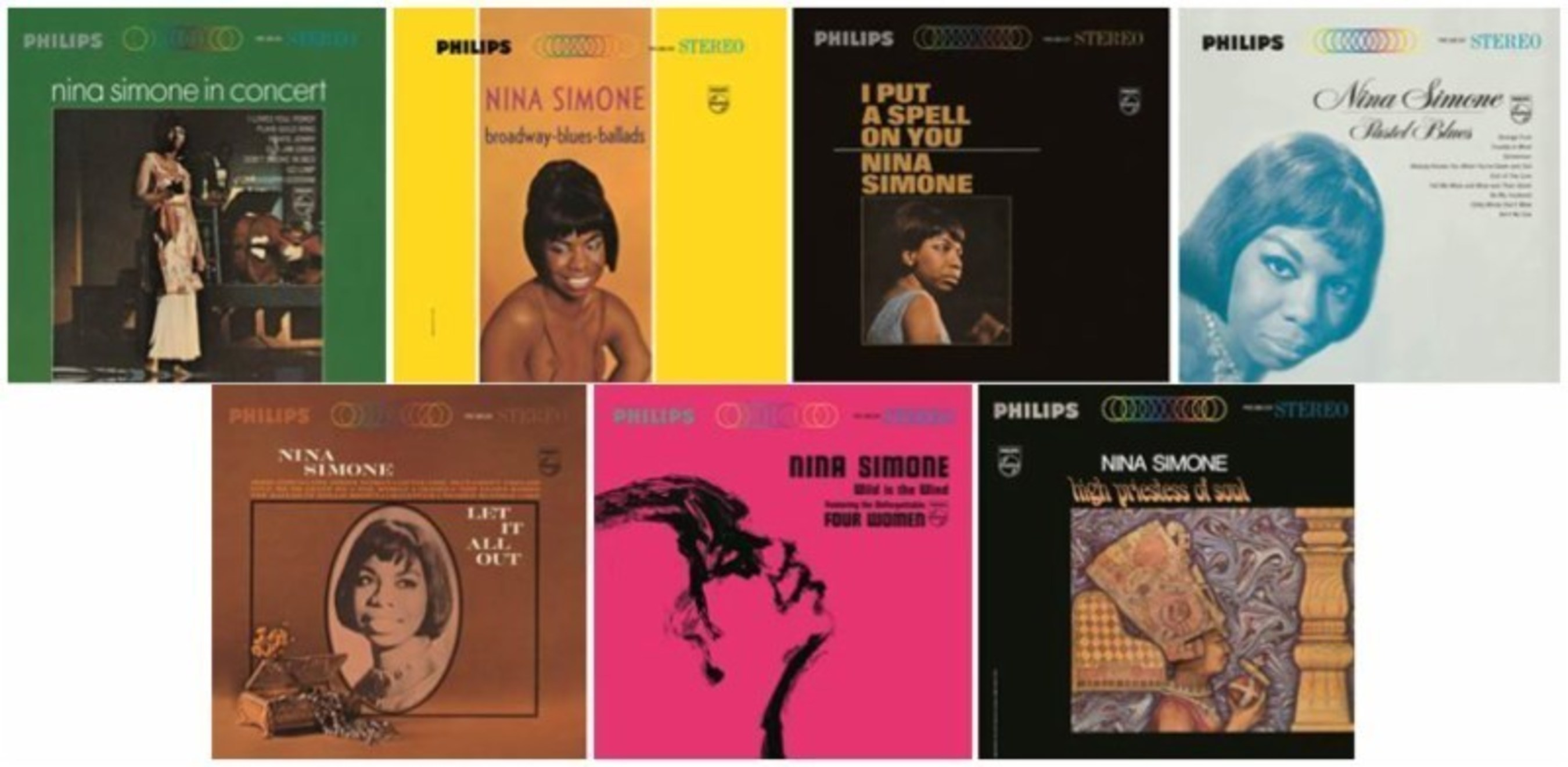 Nina Simone's Historic Philips Years Celebrated with Vinyl Remasters of Seven Classic Albums Including Nina Simone in Concert, Wild is the Wind, High Priestess of Soul