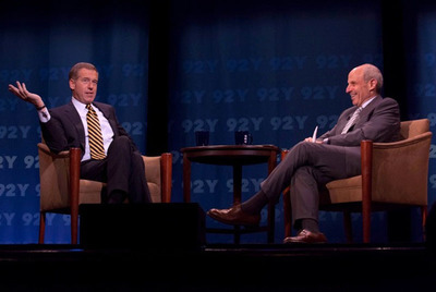 NBC's Brian Williams talks to Loews Chairman Jonathan Tisch at the 92nd Street Y in New York City.  (PRNewsFoto/Walnut Hill Media)