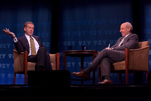 NBC's Brian Williams talks to Loews Chairman Jonathan Tisch at the 92nd Street Y in New York City.  (PRNewsFoto/Walnut Hill Media)