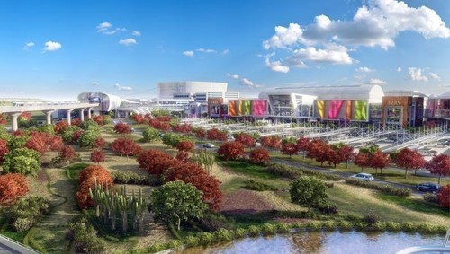 Rendering of the exterior of the Mall of Qatar showing the metro line and the future 2022 FIFA World Cup Stadium (PRNewsFoto/Mall of Qatar) (PRNewsFoto/Mall of Qatar)