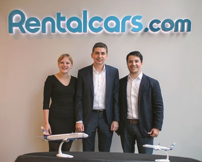 Carina Paul, Strategic Partnerships Manager at Rentalcars Connect (left), Ahmet Gunduz, E-Commerce & Ancillary Specialist at SunExpress (middle) and Arnaud Delbary, Regional Director at Rentalcars Connect (right). (PRNewsFoto/SunExpress)