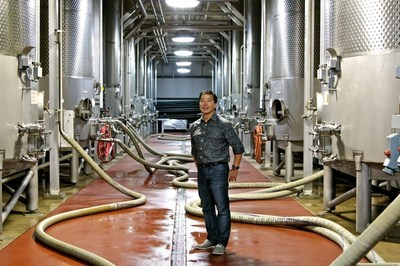 Winemaker David Akiyoshi readies LangeTwins' 30,000-gallon fermentation tanks during the 2016 harvest. The 2016 vintage is expected to bring crisp flavors with varietal distinction.