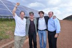 U2's Bono with Gigawatt Global co-founders Yosef Abramowitz and Chaim Motzen, plus Electrify Africa Act co-sponsor US Senator Chris Coons at East Africa's first solar field near Kigali, Rwanda. Bono and Abramowitz are both Nobel Prize candidates for 2015. (PRNewsFoto/Gigawatt Global)