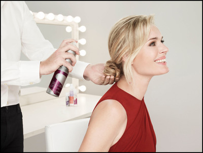 Wella Professionals Stay Essential Finishing Spray completes the look for Celebrity Ambassador Rebecca Romijn