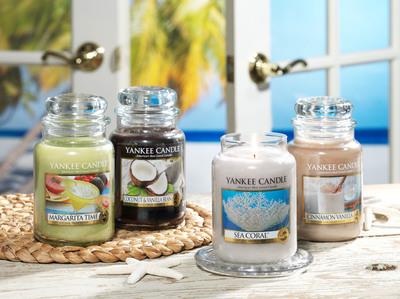 Yankee Candle's four new fragrances for summer 2014 are perfect for incorporating a relaxing summer feel into home decor and entertaining.  (PRNewsFoto/Yankee Candle Company, Inc.)