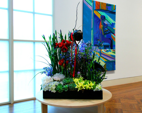 Floral design by Lisa Lee, Exhibit Floral Studio, Roland Petersen, Shades of Blue II (detail), 1990, acrylic on  ...
