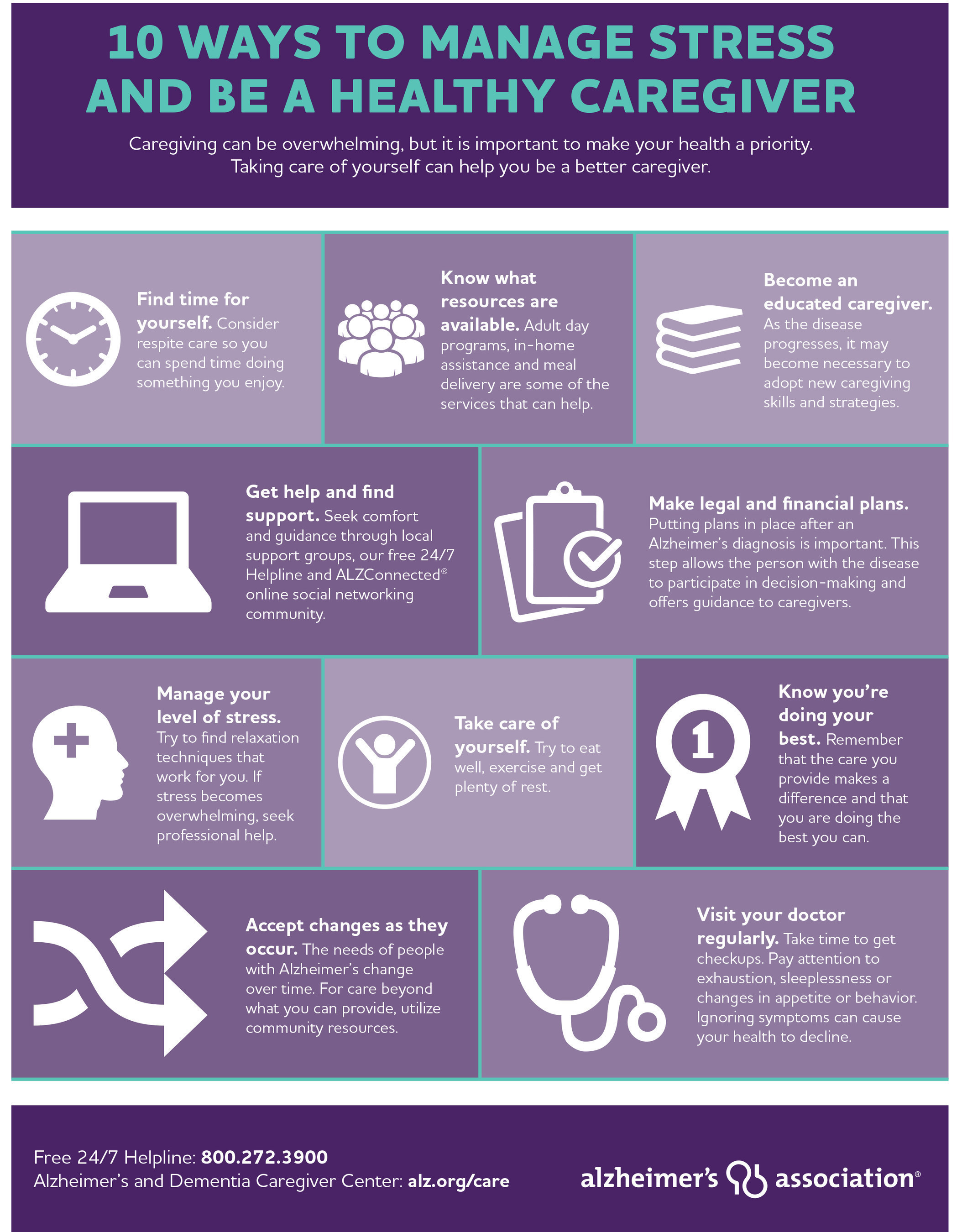 10 Ways To Manage Stress And Be A Healthy Alzheimer's Caregiver