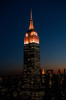 The Empire State Building will shine orange to celebrate World Kidney Day on Thursday, March 12, 2015. Image rendering courtesy of the Empire State Realty Trust.