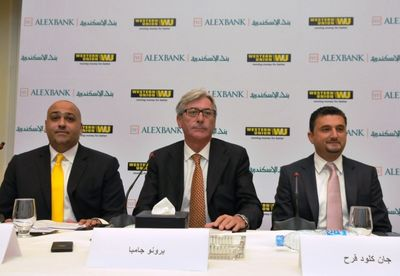 (L – R):Bassel Rahmy, ALEXBANK's Director of Retail and SME Banking, Bruno Gamba, Chairman of ALEXBANK and Jean Claude Farah, Western Union's Senior Vice President, Middle East and Africa