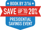 Nineteen New York City hotels have announced that travelers who book during Marriott's exclusive Presidential Savings Event will save up to 20 percent on their upcoming stay! For details, visit www.marriott.com/specials/mesOffer.mi?marrOfferId=919329&displayLink=true or call 1-800-228-9291.