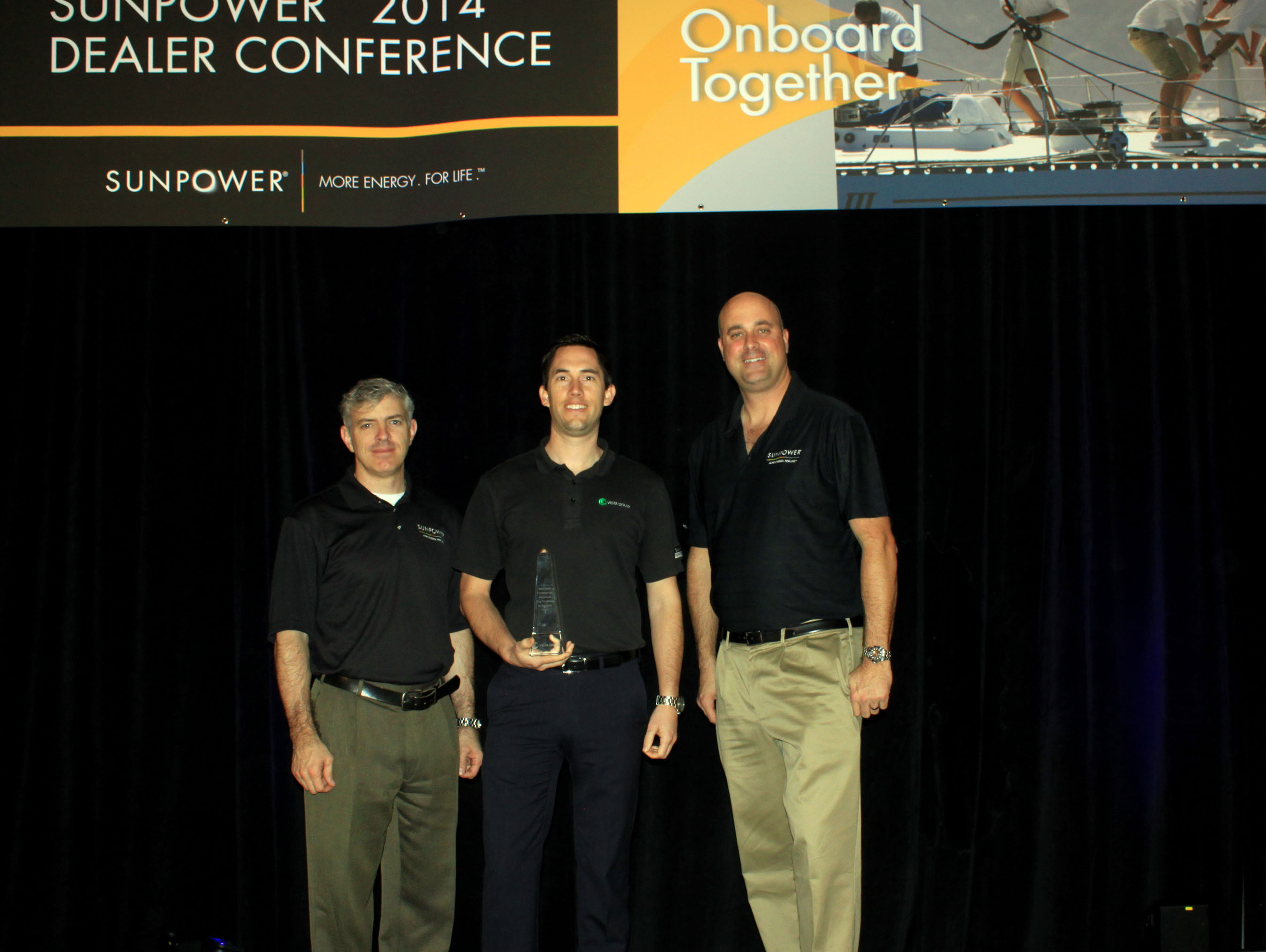 """Vista Solar Honored with the SunPower 2013 """"Commercial Regional Top Producer of the Year"""" Award.  (PRNewsFoto/Vista Solar Inc.)"""