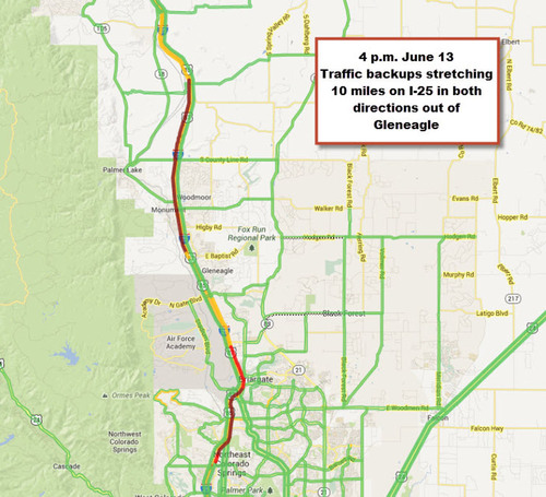 Traffic Map Colorado.Inrix Traffic Maps Show Colorado Wildfire Backups Stretch 10 Miles