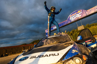 Sverre Isachsen claimed the first Red Bull GRC victory for Subaru Rally Team USA with his WRX STI. (PRNewsFoto/Subaru of America, Inc.)