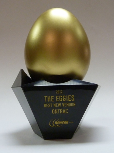 "OnTrac Awarded Best New Vendor 2012 with ""Eggie"" Award by Newegg.  (PRNewsFoto/OnTrac)"