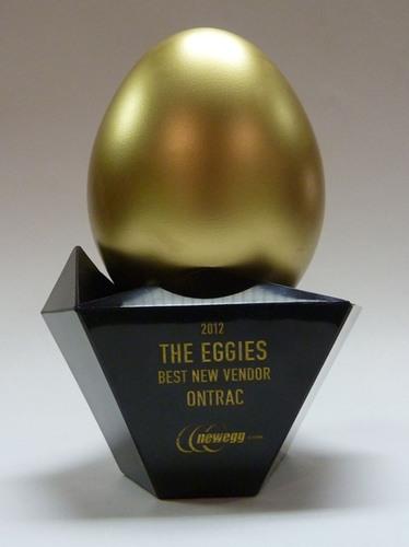 """OnTrac Awarded Best New Vendor 2012 with """"Eggie"""" Award by Newegg.  (PRNewsFoto/OnTrac)"""