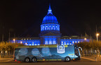 "San Francisco City Hall became the latest iconic building in California to be lit up with Covered California's colors on Nov. 5, 2015. Covered California's ""Spotlight on Coverage"" statewide bus tour to raise awareness on the open enrollment period reaches the Bay Area this Friday."