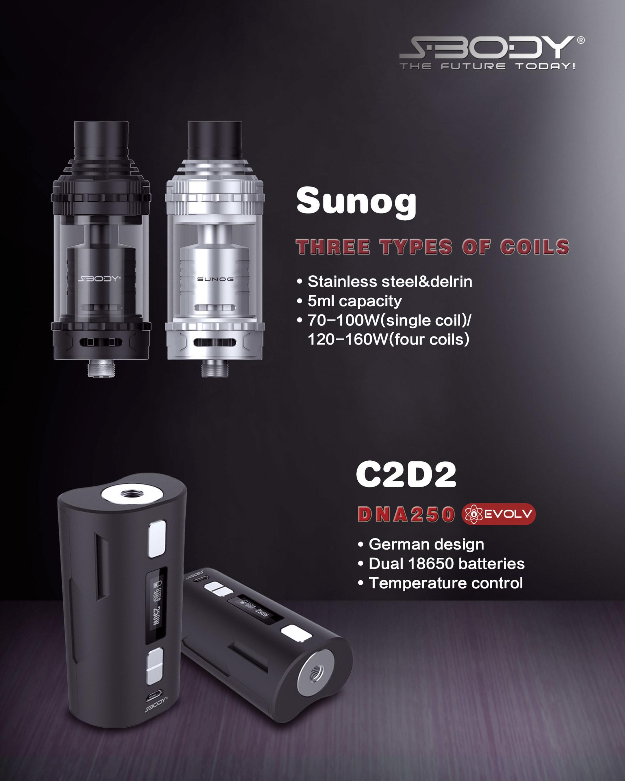 S-BODY Sunog RTA tank and VapeDroid C2D2 dna250w mod