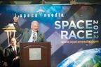 Astronaut Buzz Aldrin will present the winner of the Space Needle's Space Race 2012 competition with a sub-orbital flight to celebrate the Space Needle's 50th Anniversary. On the left is Ron Sevart, president and CEO of the Space Needle LLC.  (PRNewsFoto/Space Needle)