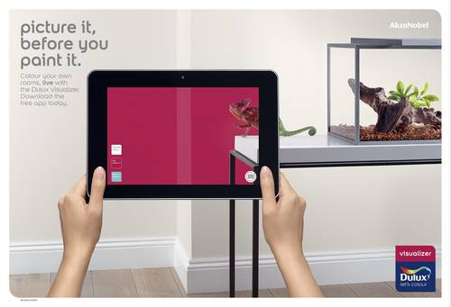 The Visualizer app enables consumers to experiment with real paint colors using Augmented Reality, without messing up their walls, helping to increase their confidence in making the right choice for their home (PRNewsFoto/String_R_)