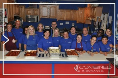 Combined Insurance volunteers served meals to more than 350 military personnel and their families at the USO Great Lakes Center on Naval Station Great Lakes, Ill.