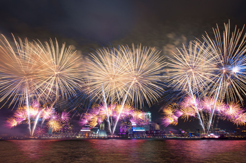 Fireworks in Hong Kong's Victoria Harbour.  (PRNewsFoto/Crystal Cruises)