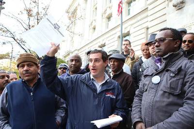 Teamster taxi drivers in Washington converge on D.C. Mayor Vincent Gray's office this week to deliver a letter outlining their concerns and anger over unjust towing of cabs and fines.  (PRNewsFoto/International Brotherhood of Teamsters)