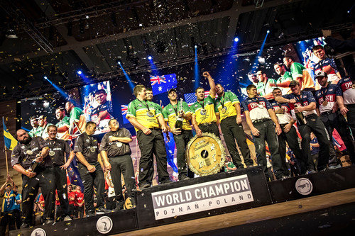 """(L-R) Team New Zealand 2nd place, winner team Australia and team United States of America on 3rd place seen on the podium at the award ceremony of the team competition of the STIHL TIMBERSPORTS(R) World Championship in Poznan, Poland on November 13, 2015. Editorial use of this picture is free of charge. Please quote the source: """"ops/STIHL TIMBERSPORTS(R) SERIES/Sebastian Marko """" (PRNewsFoto/STIHL TIMBERSPORTS Series) (PRNewsFoto/STIHL TIMBERSPORTS Series)"""