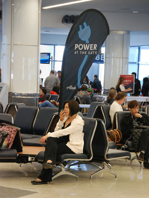 Alaska Airlines is rolling out more power outlets at its major hubs including airports the carrier serves in Seattle, Portland and Anchorage. The airline already offers travelers power outlets at its gates in Los Angeles, San Jose, Sacramento and San Francisco.  (PRNewsFoto/Alaska Airlines)