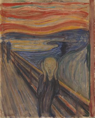 Edvard Munch: The Scream, 1893.Tempera and crayon on cardboard.91 x 73.5 cm.National Museum of Art, Architecture and Design, Oslo.NG.M.00939 (Woll M 333)(c) Munch Museum / Munch-Ellingsen Group / BONO, Oslo 2013Photo: (c) Børre Høstland, National Museum